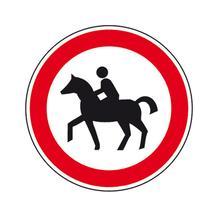 Verkehrsschild - Betriebskennzeichnung - Für Reiter verboten