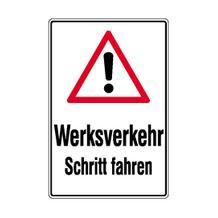 Verkehrsschild - Betriebskennzeichnung - Werksverkehr Schritt fahren