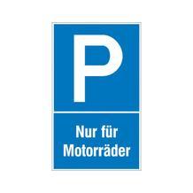 Parkplatzschild - Symbol: P - Text: Nur für Motorräder