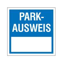 Parkausweis-Vignette - zur Innenverklebung - Text: Parkausweis - zur Selbstbeschriftung