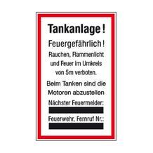 Hinweisschild für Tankanlagen und Garagen - Warnhinweise - Tankanlage! ...