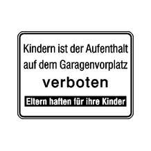 Hinweisschild für Tankanlagen und Garagen - Text: Kindern ist der Aufenthalt ...