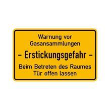 Hinweisschild für Tankanlagen und Garagen - Text: Warnung vor Gasansammlungen - Erstickungsgefahr ...