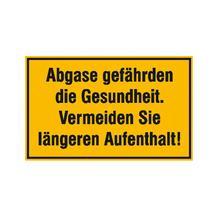Hinweisschild für Tankanlagen und Garagen - Text: Abgase gefährden die Gesundheit ...