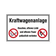 Hinweisschild für Tankanlagen und Garagen - Symbole - Text: Kraftwagenanlage Rauchen, offenes Licht und ...