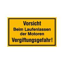 Hinweisschild für Tankanlagen und Garagen - Text: Vorsicht! Beim Laufenlassen der Motoren ...