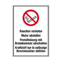 Hinweisschild für Tankanlagen und Garagen - Warnhinweise - Symbol - Text: Rauchen verboten ...