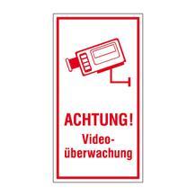 Video Infozeichen -  Betriebskennzeichnung - Symbol - Text: Achtung! Videoüberwachung