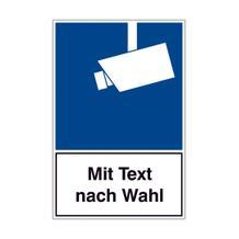Video Infozeichen - DIN - Symbol: Hinweis Videoüberwachung und Text nach Wahl