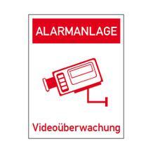 Video Infozeichen Innenverklebung - Betriebskennzeichnung - Symbol - Text: Alarmanlage Videoüberwachung