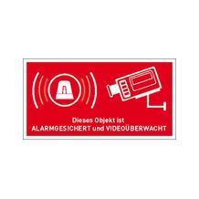 Video Infozeichen Innenverklebung - Betriebskennzeichnung - Symbol - Text: Objekt Alarmgesichert und Videoüberwacht