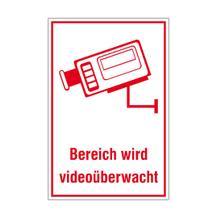 Video Infozeichen -  Betriebskennzeichnung - Symbol - Text: Bereich wird videoüberwacht