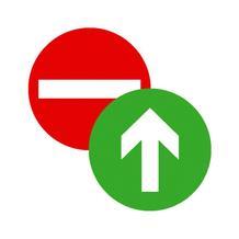 Türschild - zweiseitig - Symbol: Eingang verboten / Durchgang
