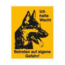 Hinweisschild - Grundbesitz - Symbol und Text: Ich halte Wacht ...
