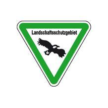 Hinweisschild für Wald- und Freizeitanlagen - Symbol und Text: Landschaftsschutzgebiet