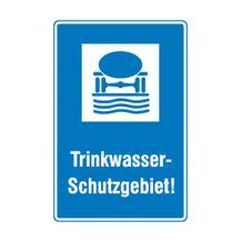 Hinweisschild für Wald- und Freizeitanlagen - Symbol und Text: Trinkwasser-Schutzgebiet!