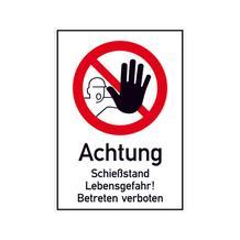 Hinweisschild - Gewerbe und Privat - Symbol und Text: Achtung Schießstand