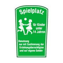 Spielplatzschild - Symbol und Text: Spielplatz für Kinder unter 14 Jahren ...