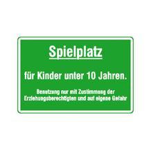 Spielplatzschild - Spielplatz für Kinder unter 10 Jahren ...