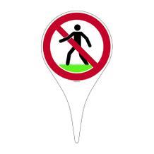 Erdspieß mit Verbotsschild - Symbol: Rasen betreten verboten