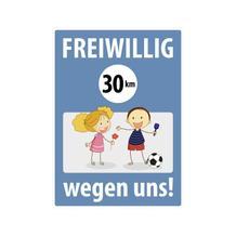 Spielplatzschild mit Anti-Graffiti-Oberfläche - Symbol und Text: Freiwillig 30 km/h wegen uns!