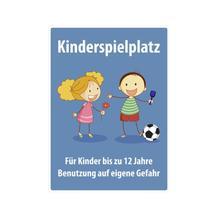 Spielplatzschild mit Anti-Graffiti-Oberfläche - Symbol und Text: Kinderspielplatz - Für Kinder bis ...