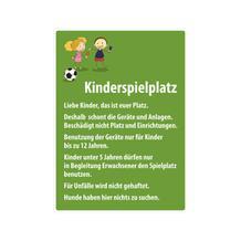 Spielplatzschild - Symbol und Text: Kinderspielplatz - mit Infotext
