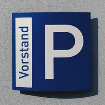 Parkplatzschild Pacific - gewölbt, blau /weiß