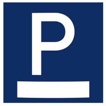 Parkplatzschild Messenger - zur Wandmontage, plan, blau /weiß