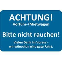 """Hinweis-Etiketten Blau für Vorführ-/Mietwagen """"Bitte nicht rauchen"""""""