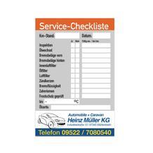 Service-Checkliste aus PVC mit Firmeneindruck