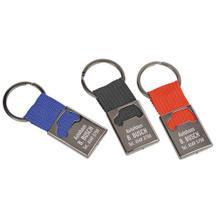 """Schlüsselanhänger """"QUADRA"""" aus schwarzem Metall mit Nylonband"""