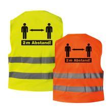 """Qualitäts-Warnweste - Premium """"2m Abstand!""""- Gelb oder Orange"""
