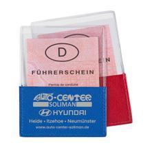 KFZ-Scheinhülle mit Echt Leder Aufsatz - in den Farben Rot oder Blau