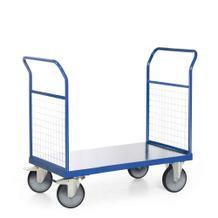 Plattformwagen - Ladefläche 1000 x 600 mm - 2 Stirnwände aus Gitter - Traglast 600 kg