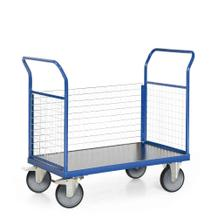 Plattformwagen - 3 Wände aus Gitter - Traglast 600 kg - Ladefläche 1200 x 800 mm