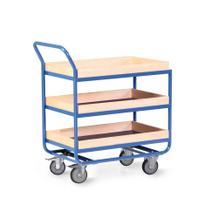 Tischwagen - 3 Ladeflächen - Bordleiste Buchen-Leimholz - 800 x 500 mm