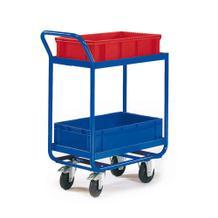 Tischwagen für 2 x 1 Transportbehälter - 600 x 400 mm - 2 Ladeflächen