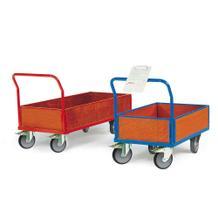 Plattformwagen für schwere Lasten - bodenschonend - 4 Größen - Bordwand aus Holz