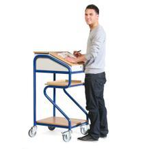 Stehpult Plus - Stahl und Massivholz - Ablageflächen - stationär und fahrbar