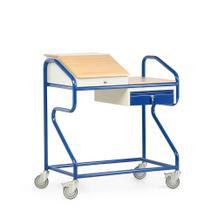 Stehpult in Extra-Breite - Stahl und Massivholz - stationär und fahrbar - 1 Schublade