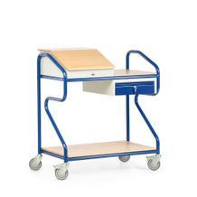 Stehpult in Extra-Breite - Stahl und Massivholz - stationär und fahrbar - 2 Ablagen - Schublade