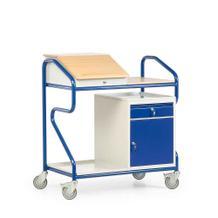 Stehpult in Extra-Breite - Stahl und Massivholz - stationär und fahrbar - 1 Schrank mit Schublade