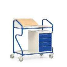 Stehpult in Extra-Breite - Stahl und Massivholz - stationär und fahrbar - 1Schrank mit Schubladen