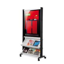 Mobiler Prospektständer - Plakatrahmen und 2 Auflagen - Schwarz/Schwarz