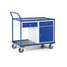 Werkstattwagen mit Schiebebügel - Schrank und 2 Schubladen - Tragkraft 300 kg