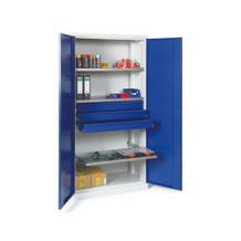 Materialschrank - zweitürig - 3 Böden - 3 Schubladen