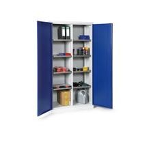 Materialschrank - zweitürig - Mitteltrennwand - 8 Böden ausziehbar