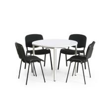 Tisch-Stuhl-Kombination, mit schwarzen Stuhlgestellen