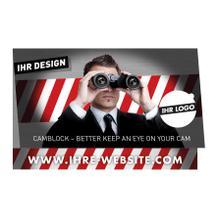 Werbekarte mit Webcam-Sticker als Klappkarte